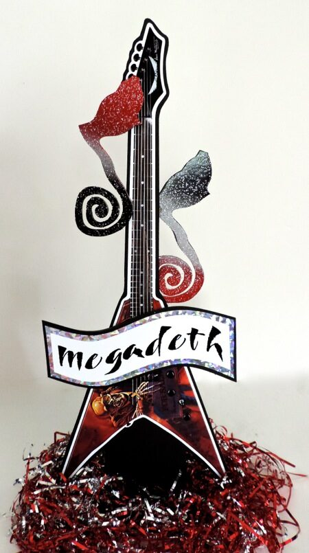 guitar centerpiece with wavy banner