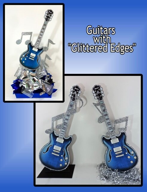 over the top guitars with glittered edges