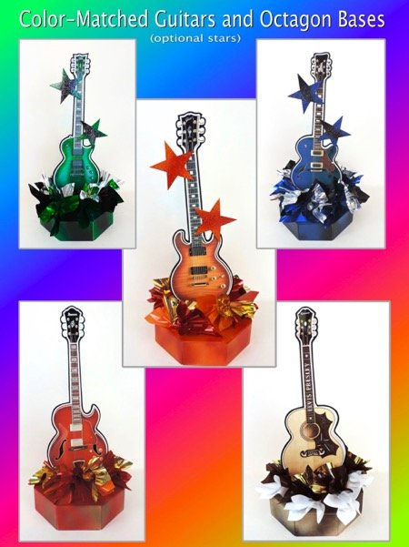 color matched guitars and bases