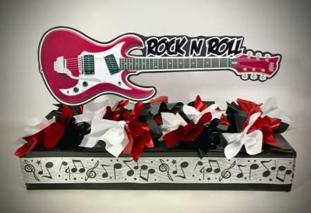 horizontal guitar rock n roll centerpiece for rectangle table