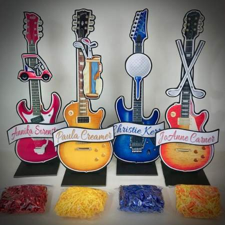 golf and guitar centerpieces personalized