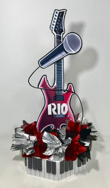 guitar and microphone centerpiece